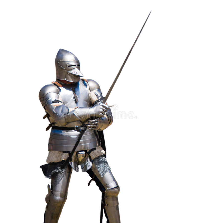 Armoured knight. In attacking position. White background stock images