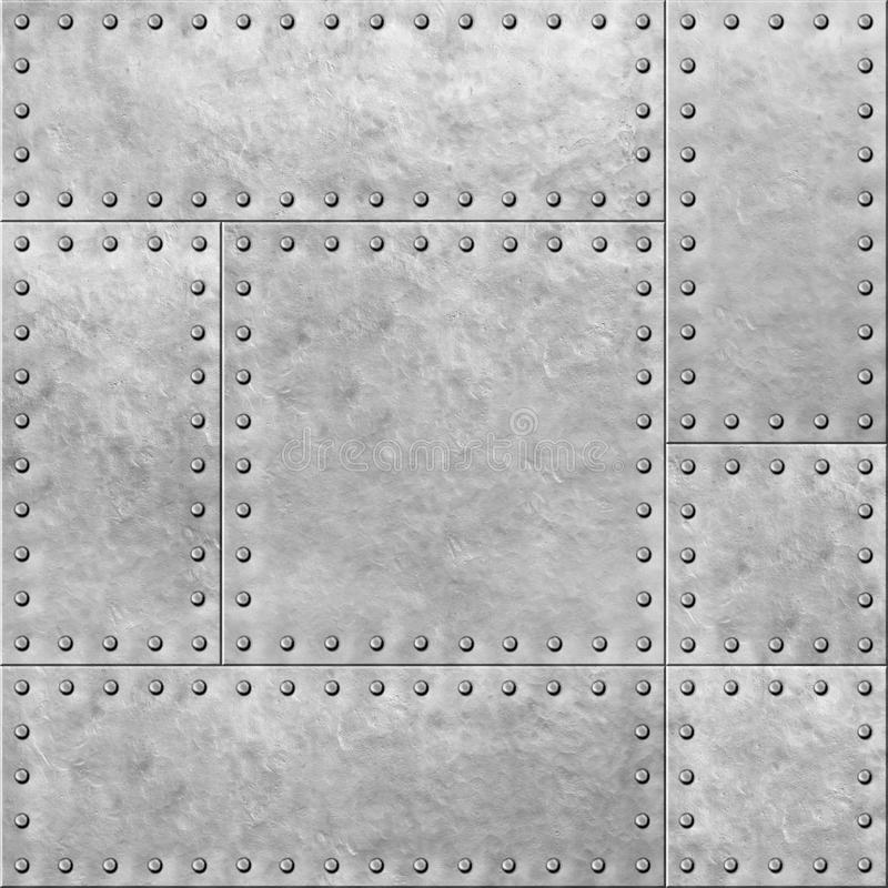 Armoured metal plates with rivets seamless background or texture 3d illustration. Armoured metal plates with rivets seamless background stock illustration