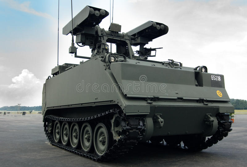 Armoured Personnel Carrier. Closeup view of an armoured personnel carrier M-113A2, Weapon Firing Unit version stock photos