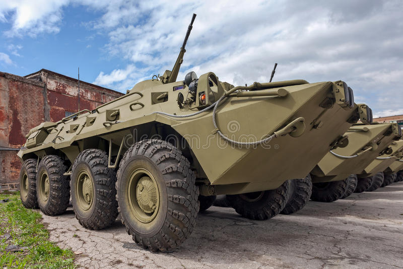 Armoured personnel carrier BTR-80. Wheeled amphibious armoured personnel carrier BTR-80 stock photography