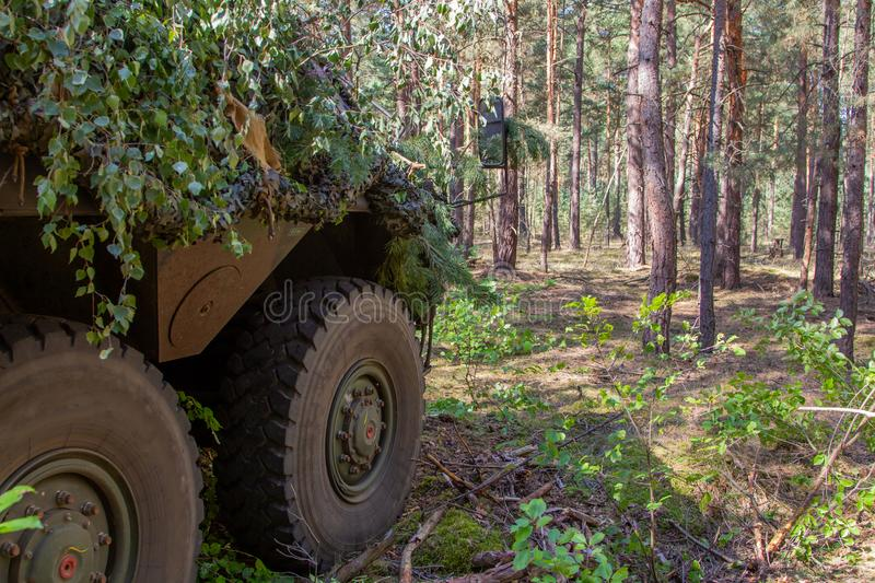 Armoured personnel carrier from german army. Stands in a military training area royalty free stock photos