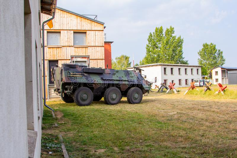 Armoured personnel carrier from german army. Stands in a military training area stock photo