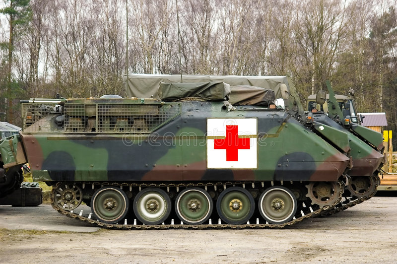 Armoured tank ambulance. Dutch tracked armoured recovery tank. YPR-765 stock images