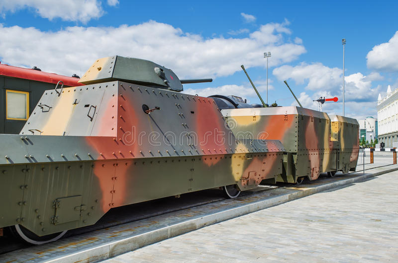 Armoured train is in the Museum of military equipment. VERKHNYAYA PYSHMA, RUSSIA - JUNE 11, 2015: Armoured train - exhibit of the Museum of military equipment royalty free stock photos