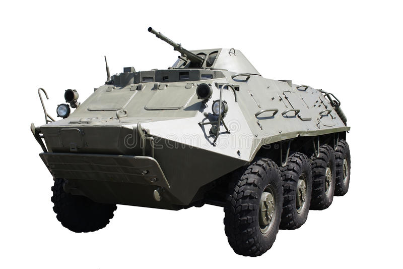 Armoured troop-carrier. Wheeled and isolated stock photos