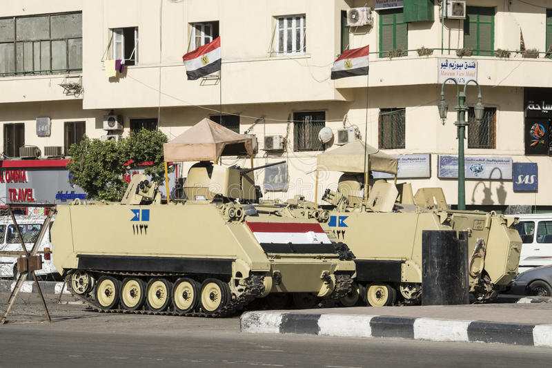 Armoured vehicles in Tahrir Square, Cairo, Egypt. Armoured vehicles in Tahrir Square, Cairo (Egypt stock photo