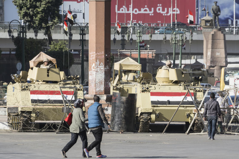 Armoured vehicles in Tahrir Square, Cairo, Egypt. Armoured vehicles in Tahrir Square, Cairo (Egypt stock photos