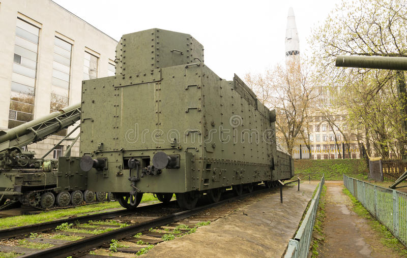 Armoured WWII Russian locomotive back royalty free stock image