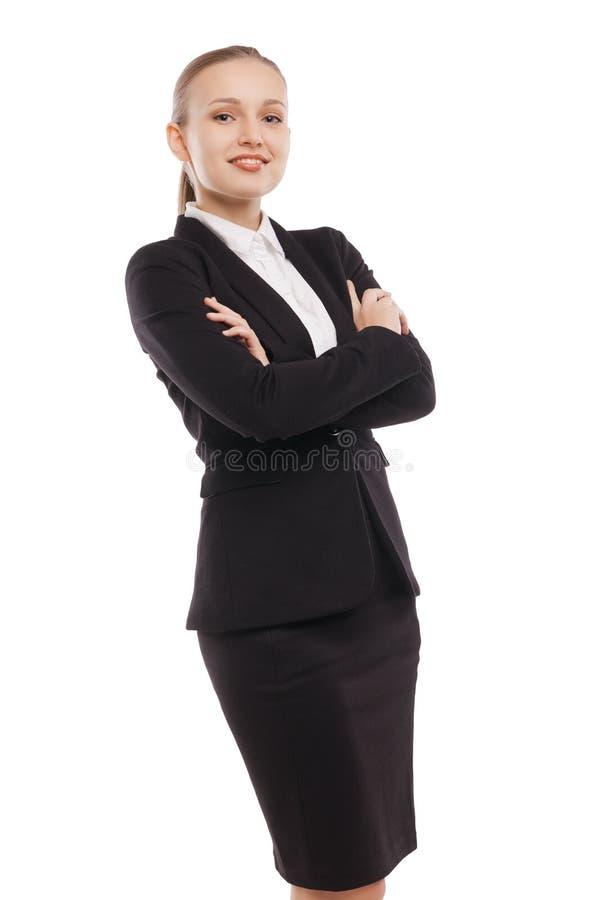arms affärskvinnan korsad standing royaltyfri bild