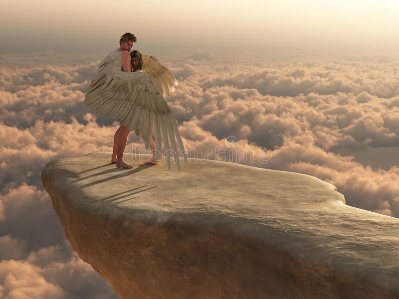 In the arms of an angel. Male angel protectively envelops female companion in his wings on a promontory high above the clouds