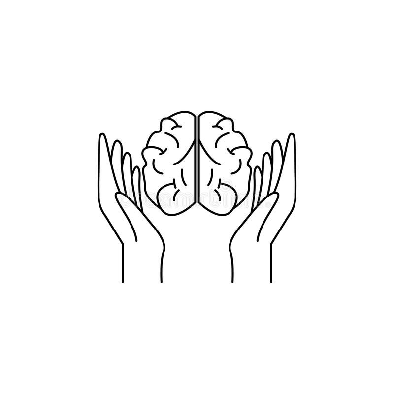 arms and brain icon. Element of idea and solutions for mobile concept and web apps. Thin line icon for website design and develop royalty free illustration