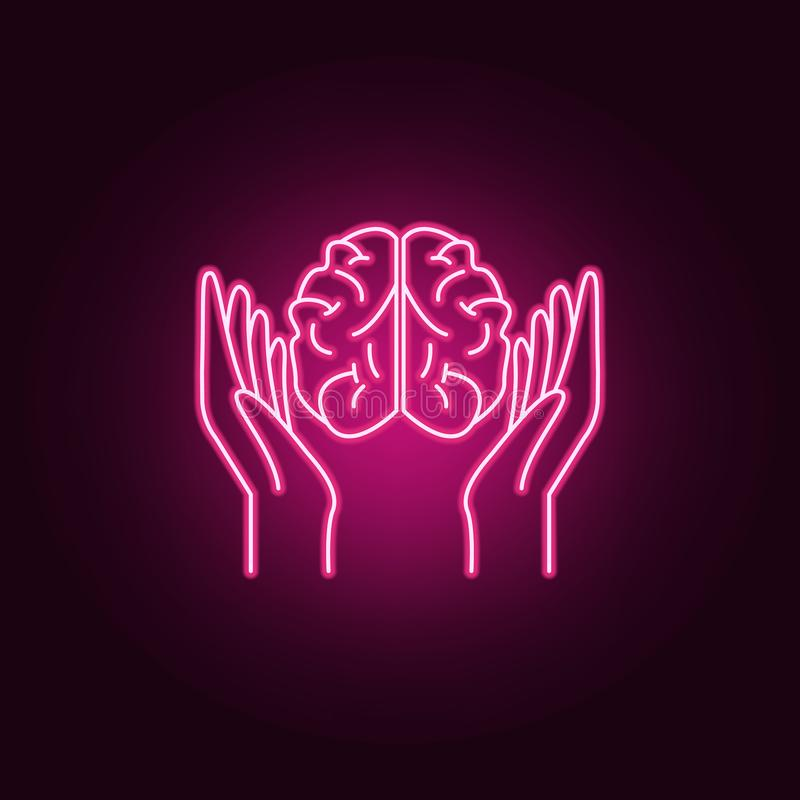 arms and brain neon icon. Elements of Idea set. Simple icon for websites, web design, mobile app, info graphics stock illustration