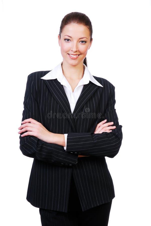 arms den korsade affärskvinnan royaltyfria bilder