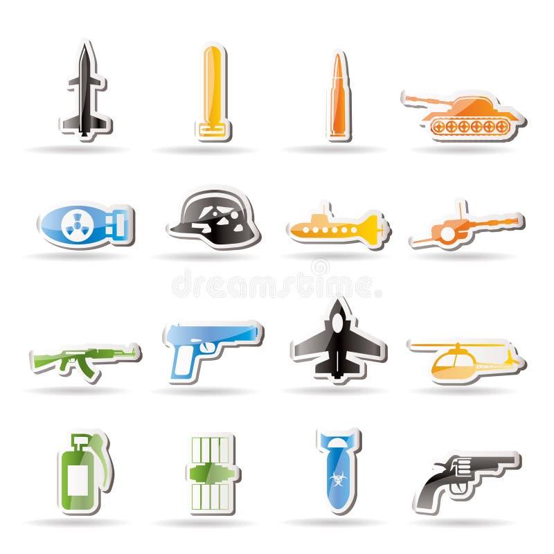 arms enkla symboler kriger vapen stock illustrationer