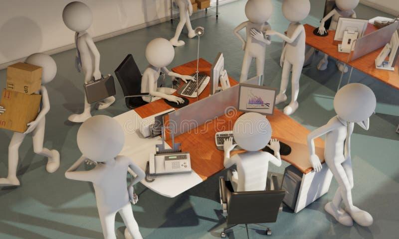 arms för forgroundman för bakgrund skäggiga korsade arbetare för kvinna för telefon för kontor plattform talande vektor illustrationer