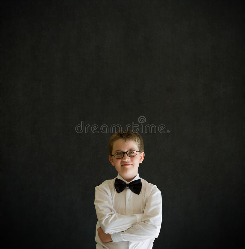 Arms Folded Boy Dressed Up As Business Man Stock Photography