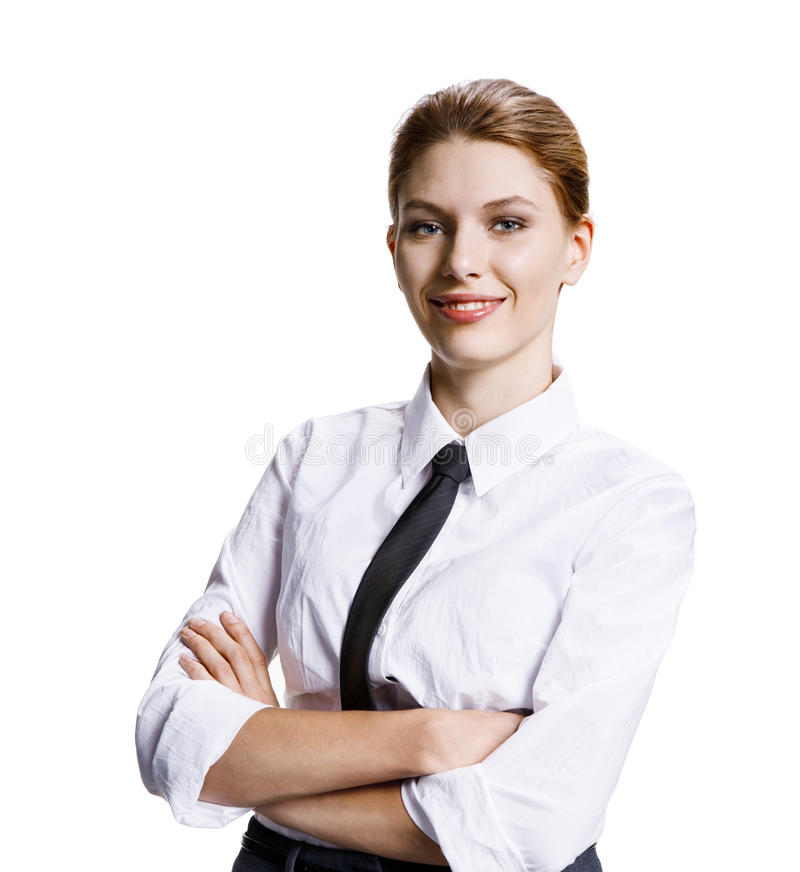 Arms folded. Stock image of businesswoman with crossed arms - isolated on white background royalty free stock photography