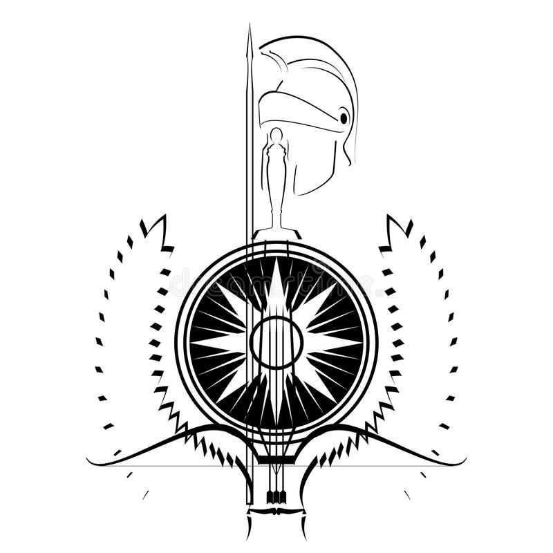Download Arms of the gladiator stock vector. Image of sword, black - 28316723