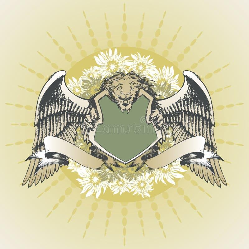 arms lionen royaltyfri illustrationer
