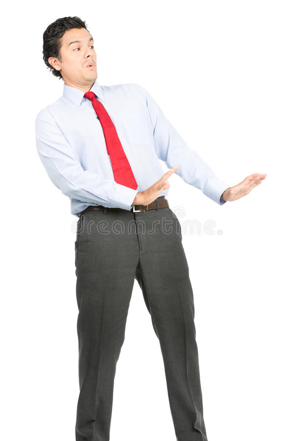 Arms Out Defesnive Posture Hispanic Businessman royalty free stock photo