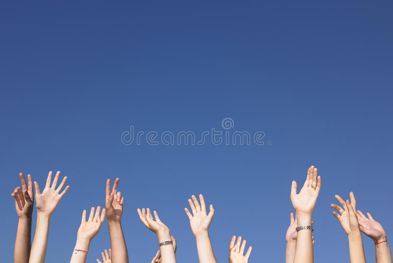 Download Arms Raised Against Blue Sky Stock Image - Image: 12053557