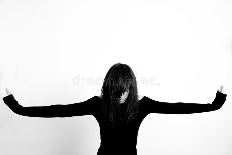 Arms raised girl stock photo