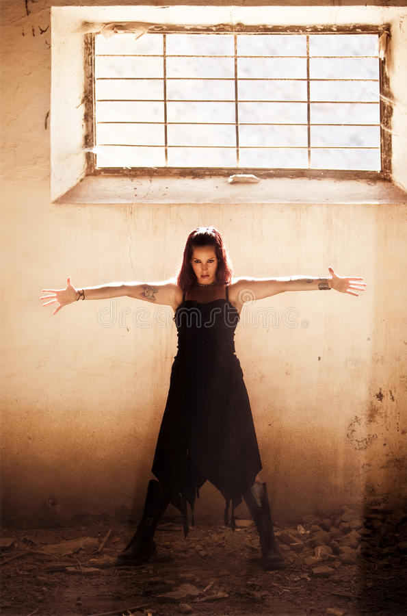 Download Arms raised gothic girl stock image. Image of dress, dirty - 11371439