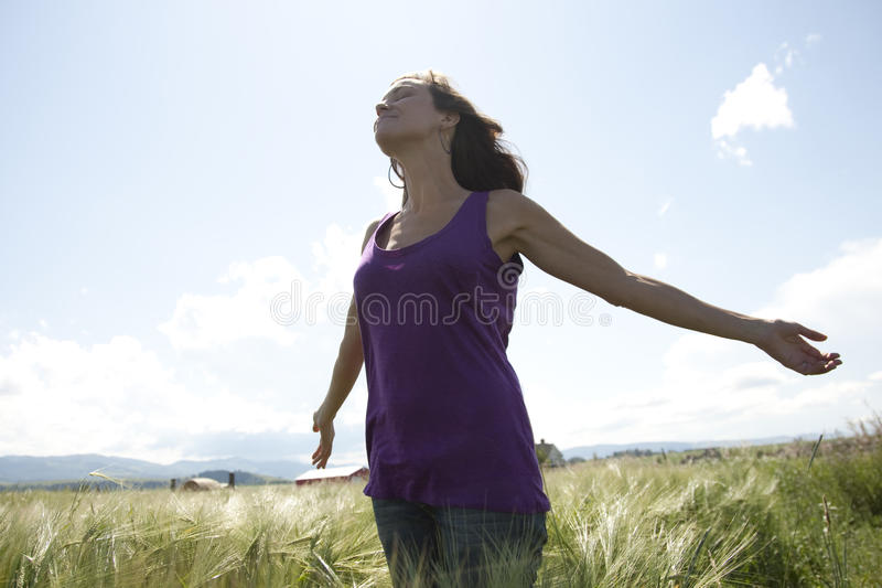 Arms wide open royalty free stock photography