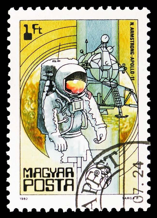 Armstrong, Apollo 11, 1969, Space Research (1982) serie, circa 1982. MOSCOW, RUSSIA - FEBRUARY 10, 2019: A stamp printed in Hungary shows Armstrong, Apollo 11 royalty free stock images