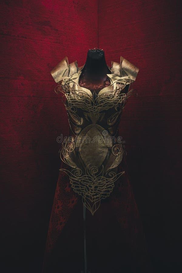 Armure d'or pour des femmes Porte des pièces en or et des tissus et f image libre de droits