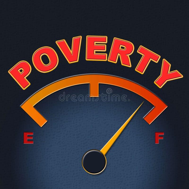 Armut-Messgerät-Show-Endhunger und -anzeige lizenzfreie abbildung