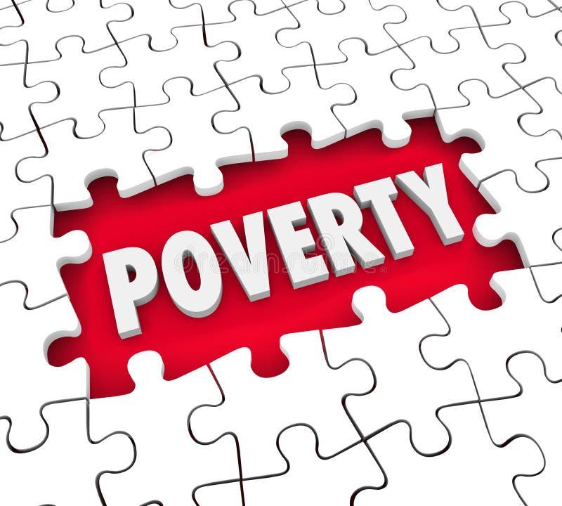 Armut-Puzzlespiel-Loch-schlechte Lebensbedingungs-Hunger-Puzzlespiel-Stücke lizenzfreie abbildung
