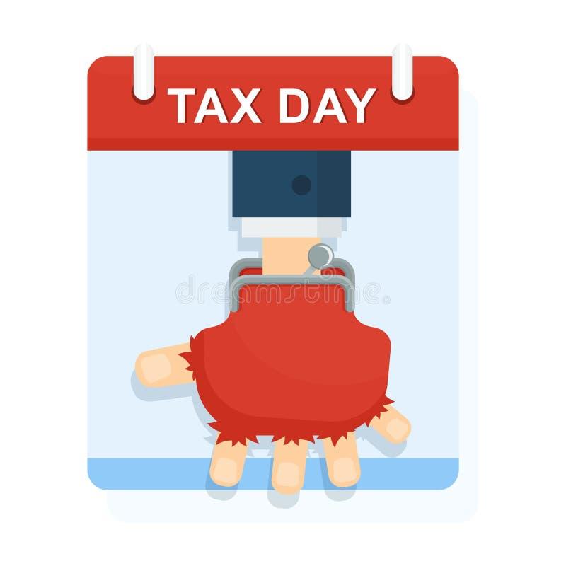 Armut und Elend Mangel an den Kapitalien, zum von Steuern zu zahlen lizenzfreie abbildung
