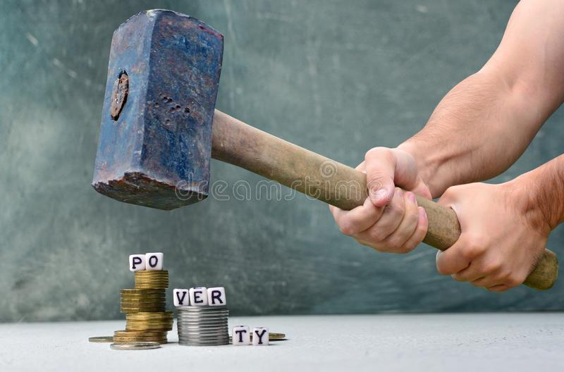 Armutstreik und -weise zum Reichtumskonzept stockfotos