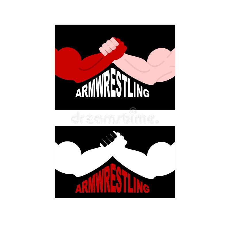 Armwrestling logo Dwa silnej ręki również zwrócić corel ilustracji wektora royalty ilustracja