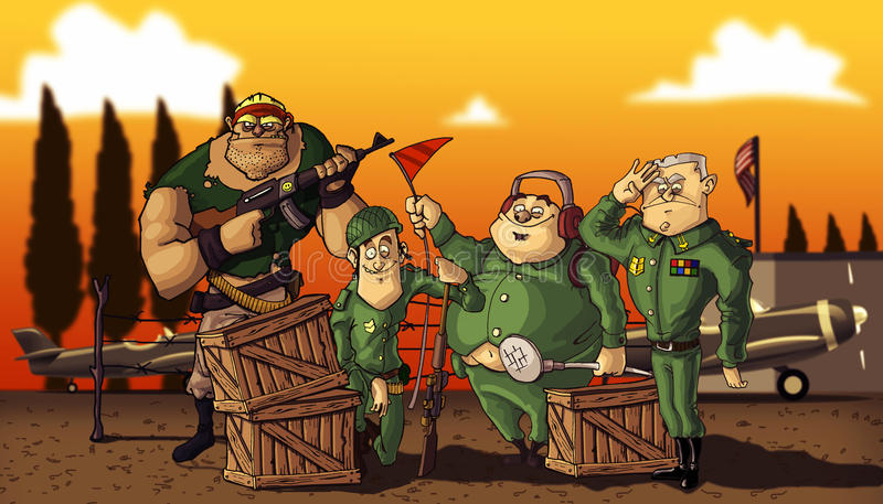 Army. A group picture of a fun squad royalty free illustration