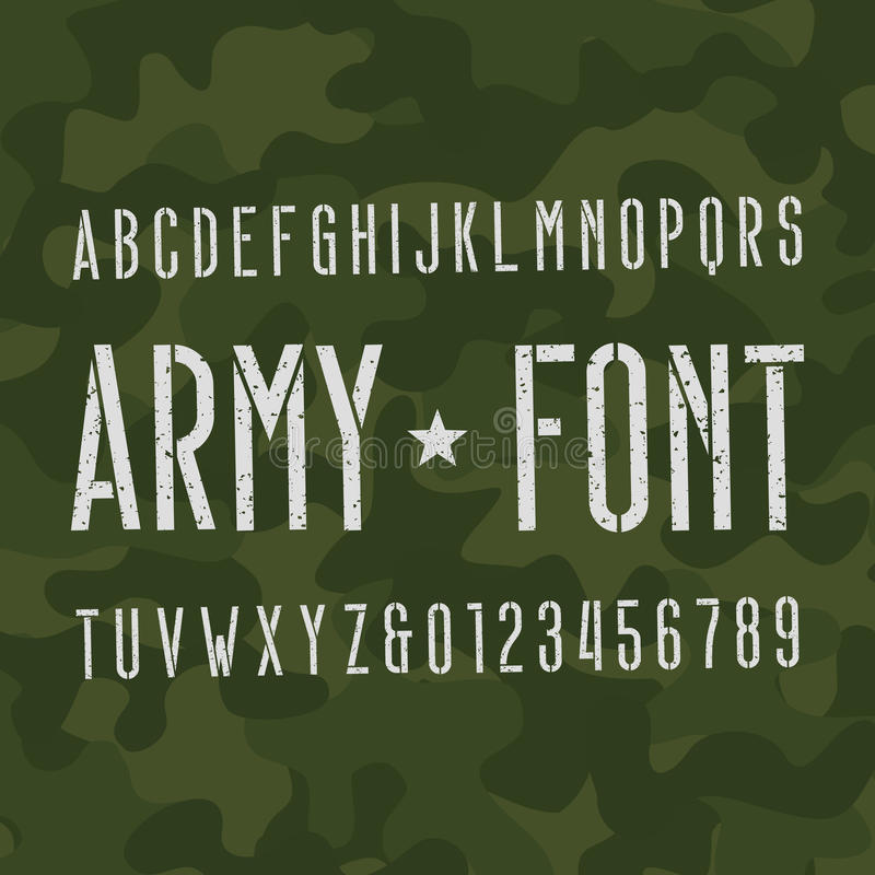 Army alphabet font. Scratched type letters and numbers on camo background. Vector typography for your design vector illustration