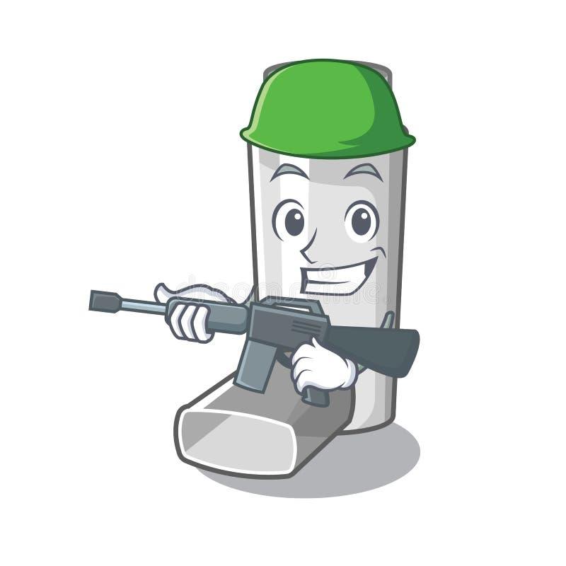 Army asthma inhaler in the cartoon shape. Vector illustration royalty free illustration