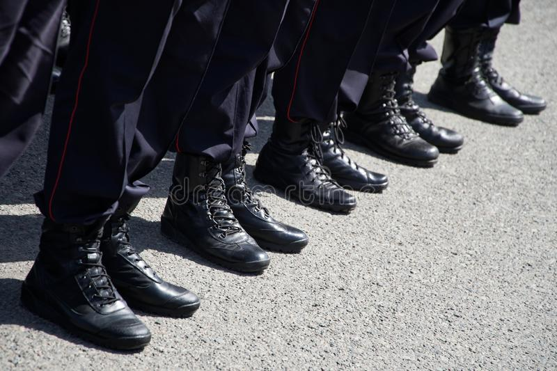 Army boots of Russian police in July 2019. Law and order and uniform. Problems of opposition rallies, detentions and arrests stock photo