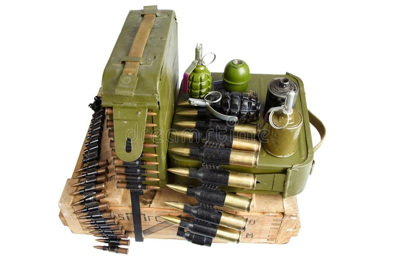 Army box of ammunition with ammo belt and hand grenades stock photos