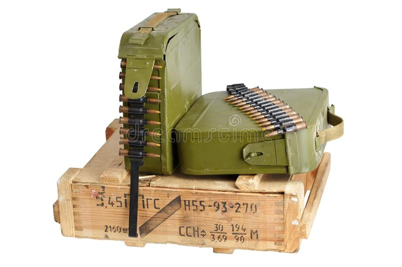 Army box of ammunition with ammo belt and hand grenades. Isolated stock photo