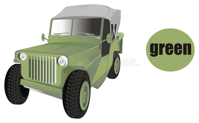 Army car is green stock illustration