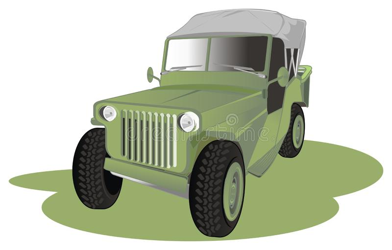 Army car and green shadow. Old army car stand with green shadow royalty free illustration