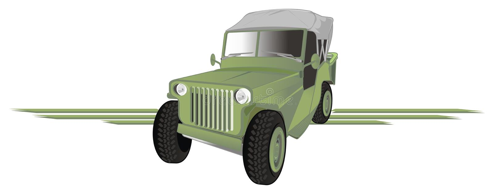 Army car and lines stock illustration