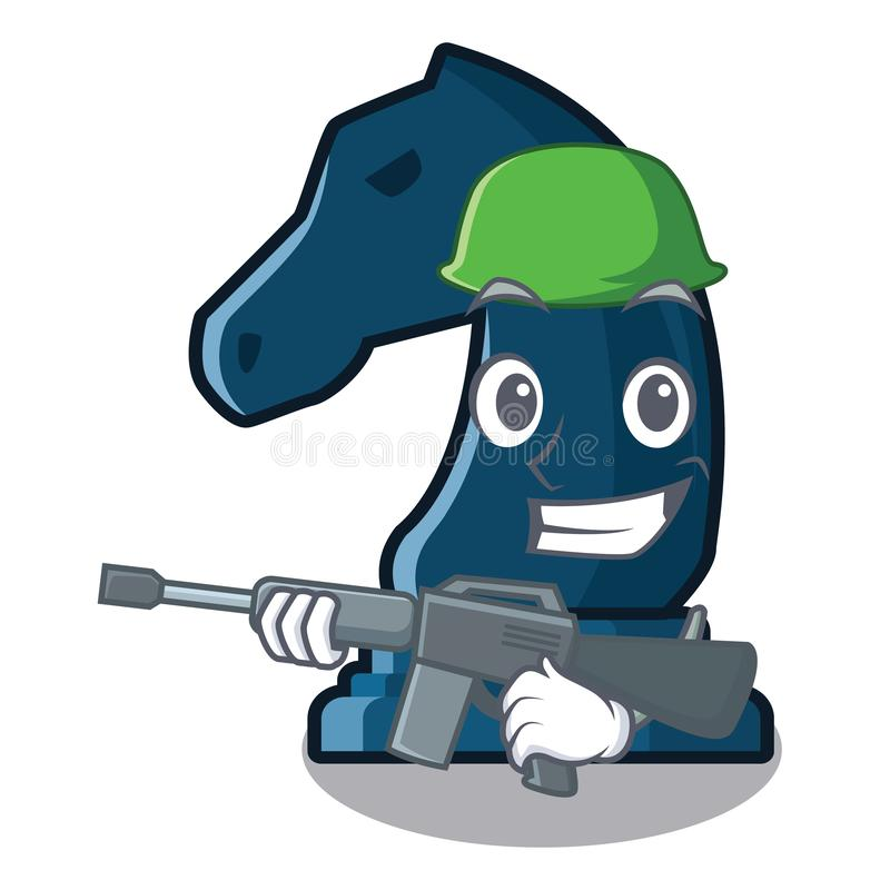 Army chess knight in the mascot shape vector illustration