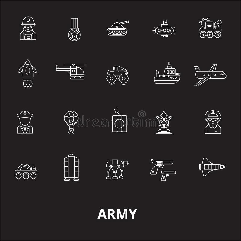 Army editable line icons vector set on black background. Army white outline illustrations, signs, symbols stock illustration