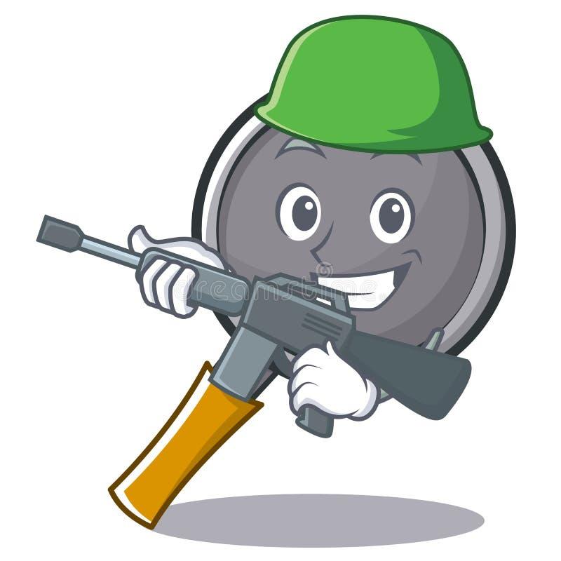 Army frying pan cartoon character. Vector illustration royalty free illustration
