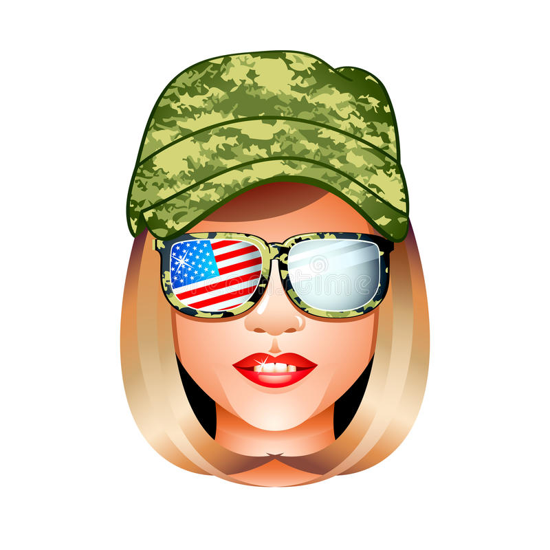 Army girl. Beautiful US army girl head in combat uniform royalty free illustration