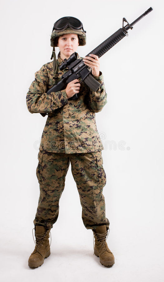 Download Army girl with gun stock image. Image of military, marine - 6457057
