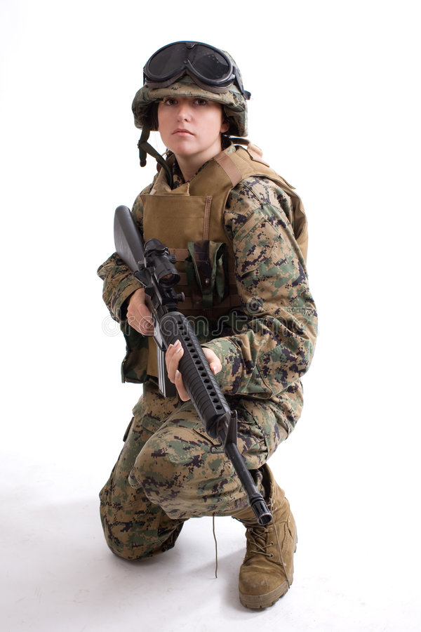 Free Army Girl With Helmet Stock Image - 6457121